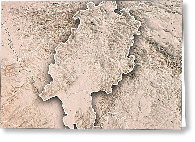 Hessen Federal State Germany 3d Render Topographic Map Neutral B Greeting Card