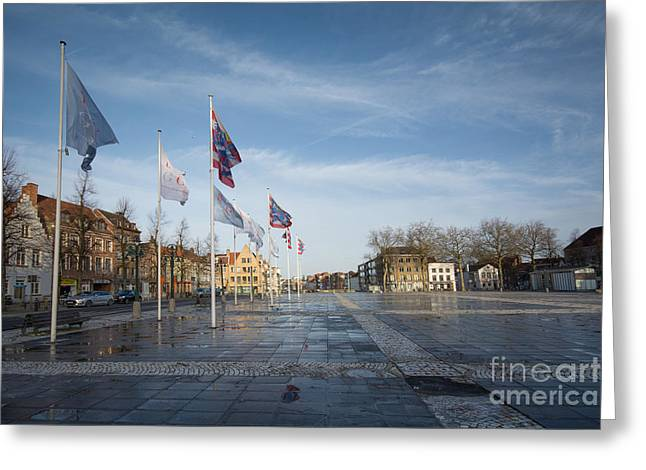Het Zand, Bruges Greeting Card by Nichola Denny