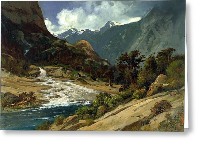 Hetch Hetchy Side Canyon, I Greeting Card by William Keith