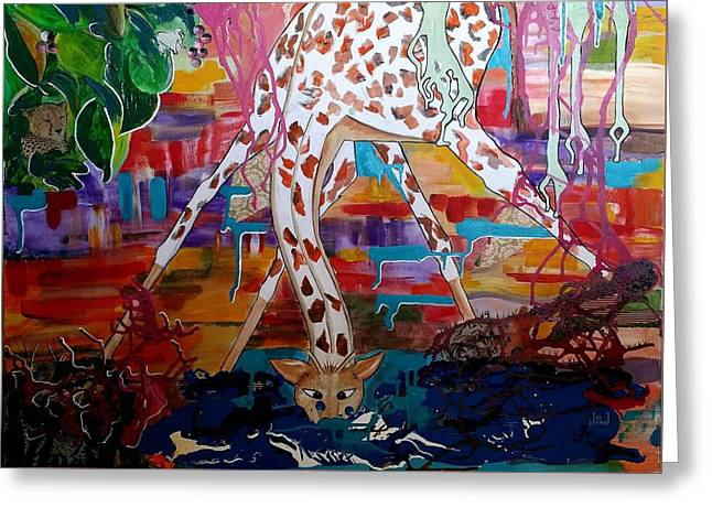 Hettie At The Water Hole Greeting Card by Jan Steadman-Jackson