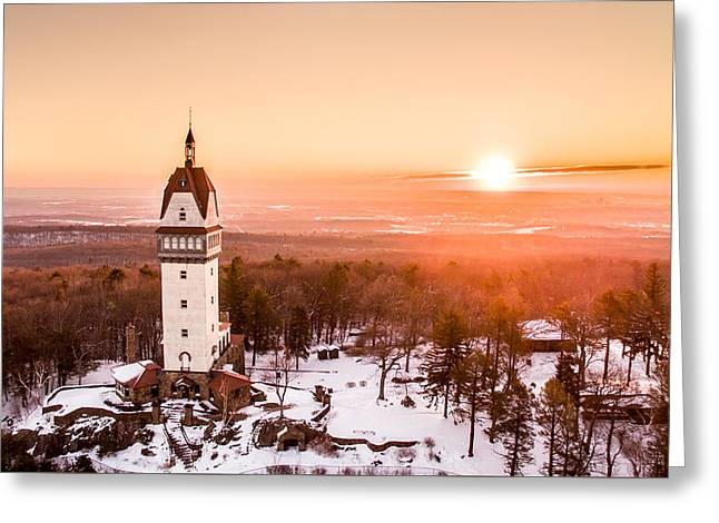 Greeting Card featuring the photograph Heublein Tower In Simsbury Connecticut by Petr Hejl