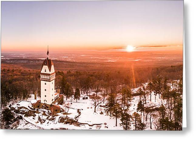 Greeting Card featuring the photograph Heublein Tower In Simsbury Connecticut, Winter Sunrise Panorama by Petr Hejl