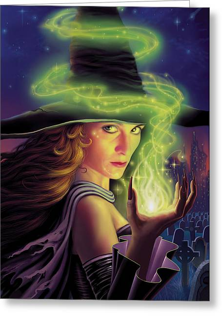 Witch Greeting Cards - Hex of the Wicked Witch Greeting Card by Philip Straub