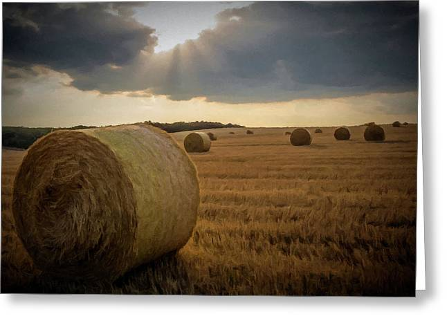 Greeting Card featuring the photograph Hey Bales And Sun Rays by David Dehner