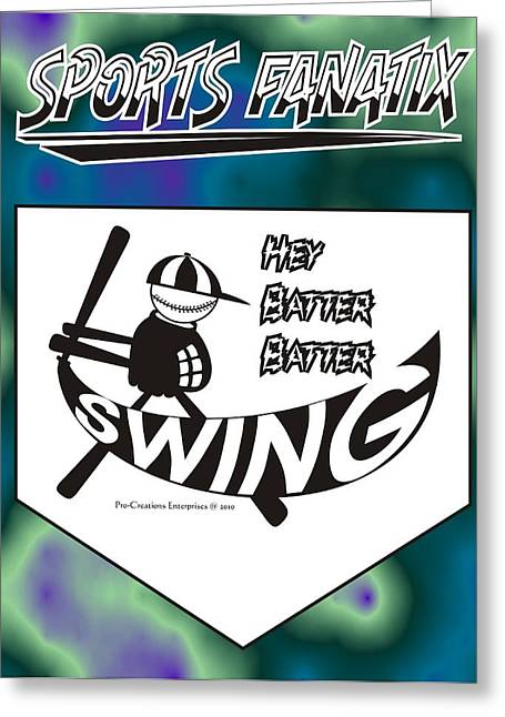 Hey Batter Batter Swing Greeting Card by Maria Watt