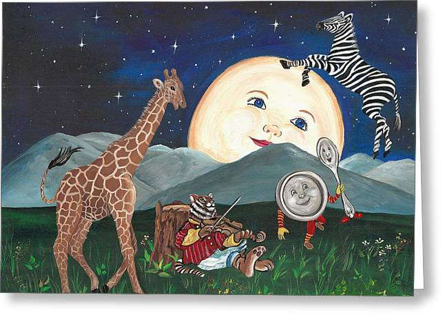 Hey Diddle Diddle Greeting Card by Sundara Fawn