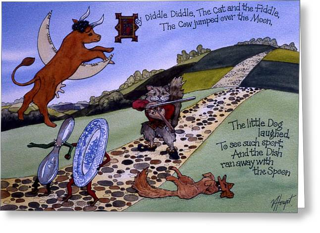 Hey Diddle Diddle Greeting Card by Victoria Heryet