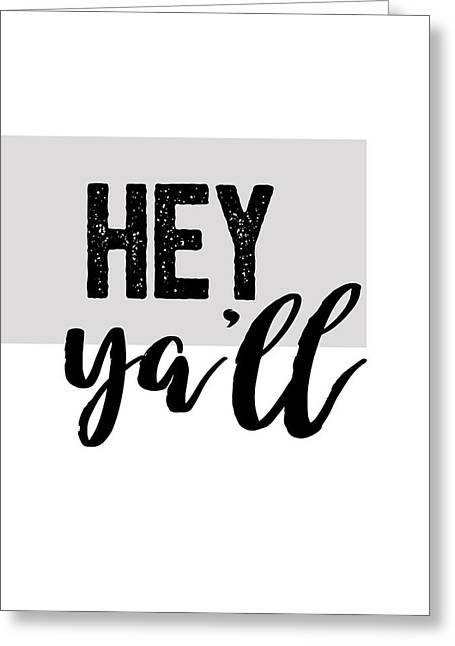 Hey Typography Design Greeting Card by Ann Powell