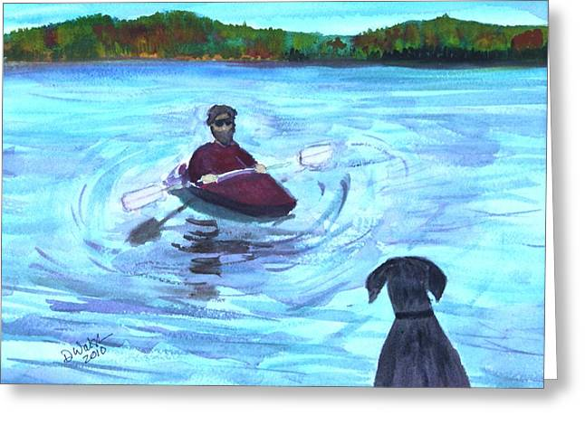 Greeting Card featuring the painting Hey Where You Going  by Donna Walsh