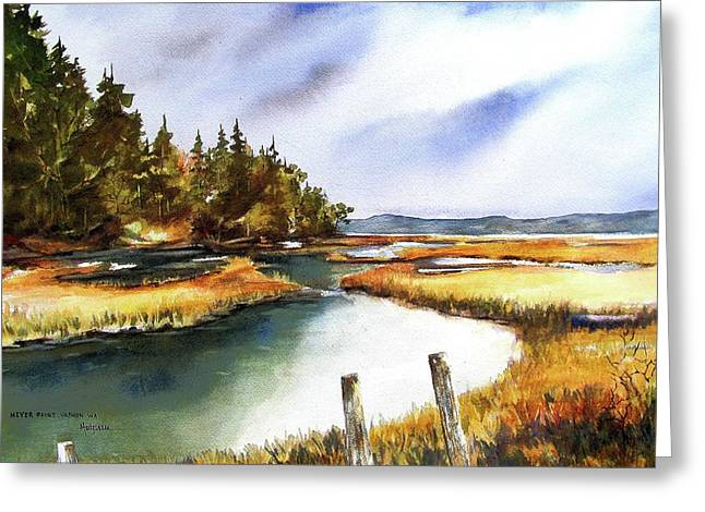 Greeting Card featuring the painting Heyer Pt   Vashon Wa by Marti Green