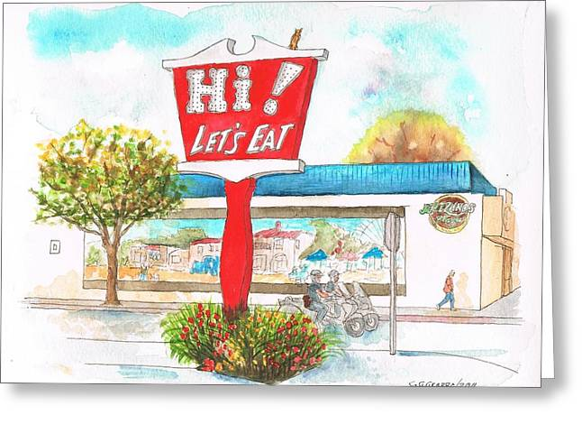 Acuarelas Greeting Cards - Hi Lets Eat Coffee Shop in Lompoc - California Greeting Card by Carlos G Groppa