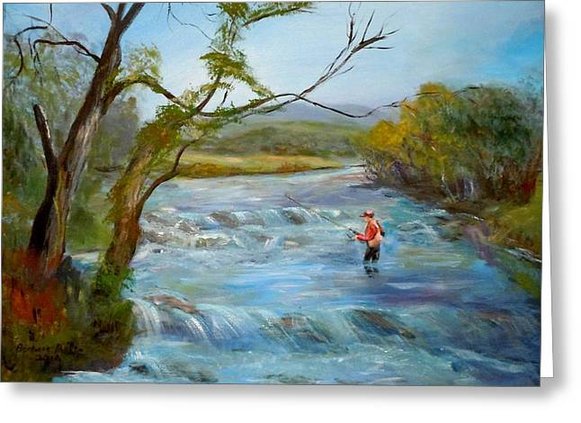 Hiawassee River Fly Fishing Greeting Card by Barbara Pirkle