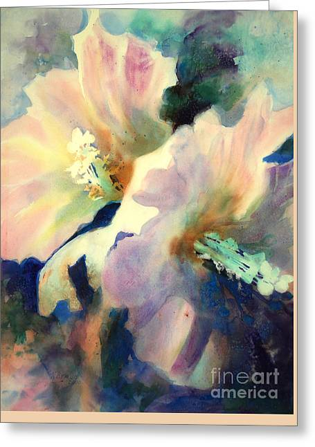 Greeting Card featuring the painting Hibicus Up Close by Kathy Braud