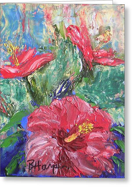 Hibiscus Abstract Greeting Card by Barbara Harper