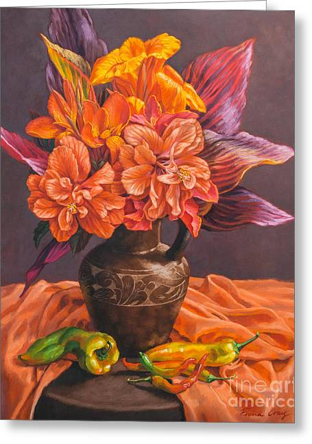 Hibiscus And Cannas In Balinese Jug Greeting Card by Fiona Craig