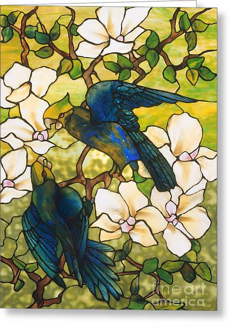 Hibiscus And Parrots Greeting Card