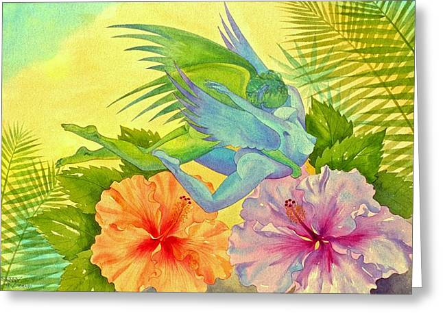 Hibiscus Faeries Greeting Card by Jennifer Baird