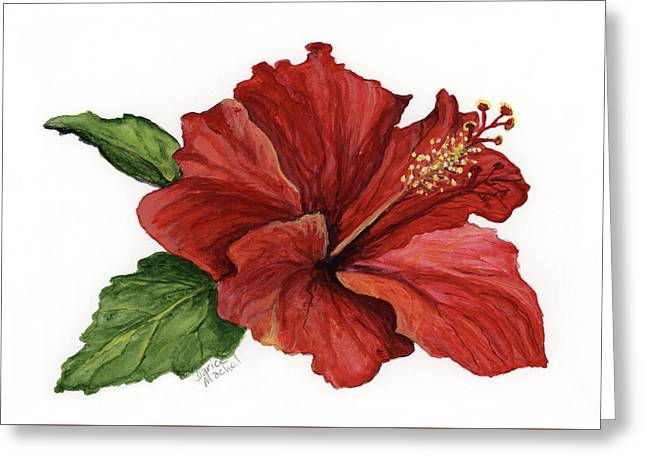 Greeting Card featuring the painting Hibiscus Flower by Darice Machel McGuire