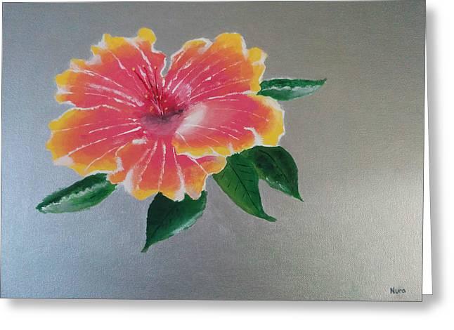 Hibiscus Flower Greeting Card by Nura Abuosba