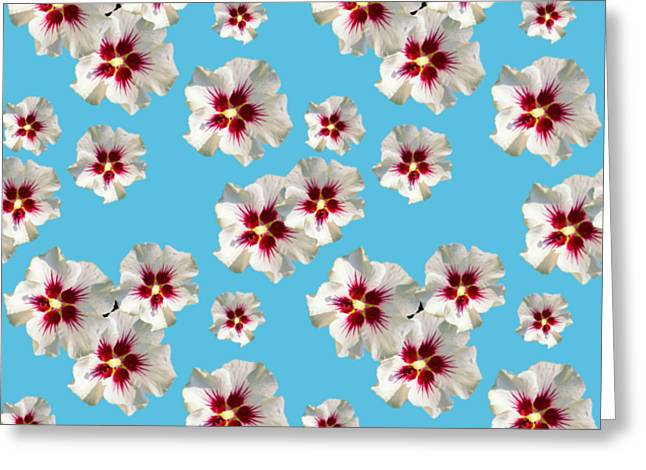 Greeting Card featuring the mixed media Hibiscus Flower Pattern by Christina Rollo