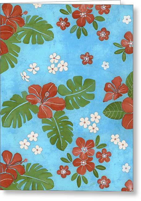 Hibiscus Flowers And Leaves Greeting Card