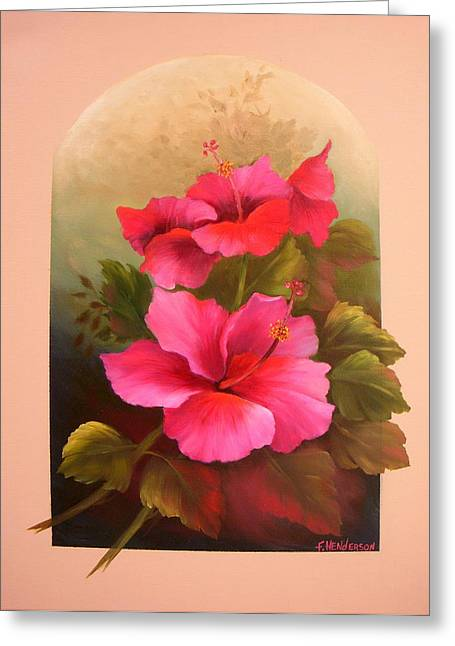 Hibiscus Garden Greeting Card by Francine Henderson