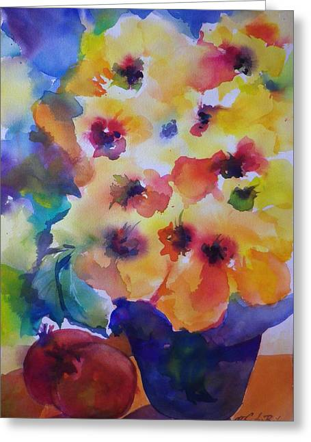 Hibiscus In Yellow Greeting Card by Therese Fowler-Bailey