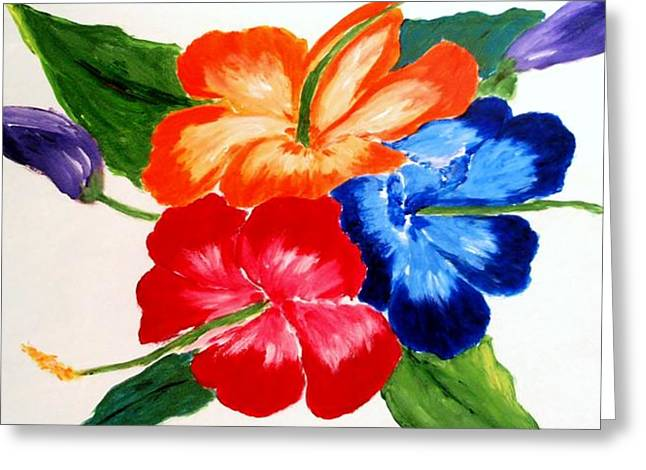 Greeting Card featuring the painting Hibiscus by Jamie Frier