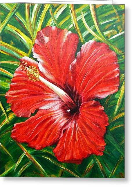Hibiscus Greeting Card by JoAnn Wheeler
