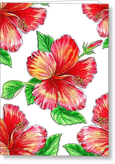 Hibiscus Magic Garden Greeting Card