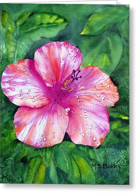 Hibiscus Greeting Card by Maria Barry