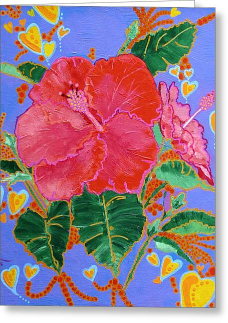 Hibiscus Motif Greeting Card