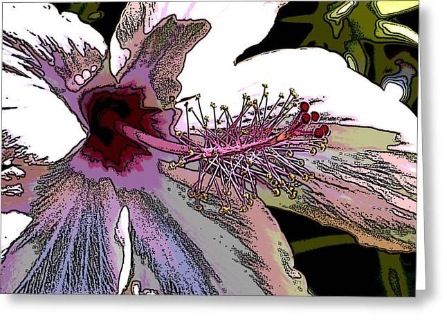 Hibiscus Posterized I Macro Greeting Card