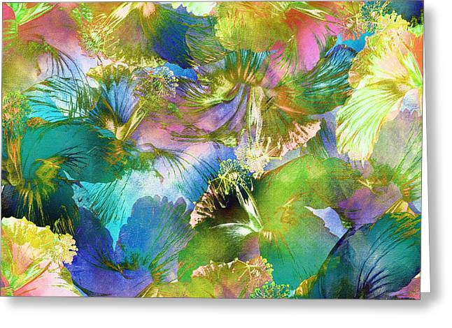 Greeting Card featuring the digital art Hibiscus Trumpets by Klara Acel