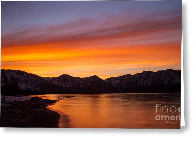 Hidden Beach Sunset Greeting Card by Mitch Shindelbower
