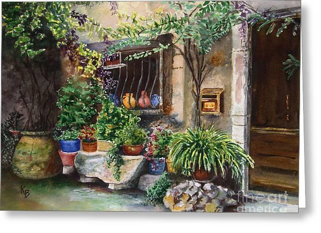 Hidden Courtyard Greeting Card by Karen Fleschler