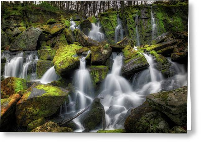 Hidden Mossy Falls Greeting Card by Bill Wakeley