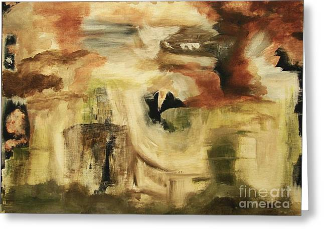 Hidden Places - Contemporary Modern Abstract Art Painting  Greeting Card by Itaya Lightbourne