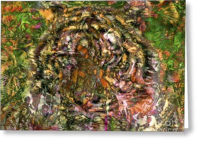 Hidden Tiger Greeting Card by Chuck Brittenham