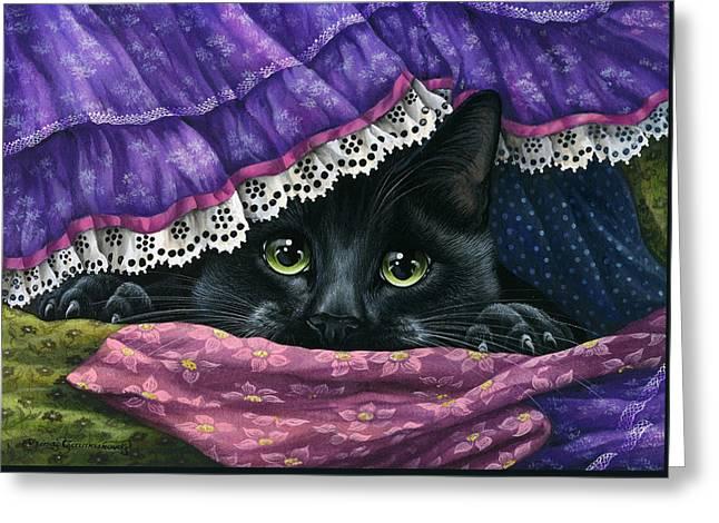 Hidden Under The Fabric Greeting Card by Irina Garmashova-Cawton