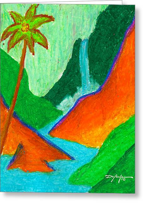 Fine Artwork Pastels Greeting Cards - Hidden Waterfall in the Tropics Greeting Card by William Depaula