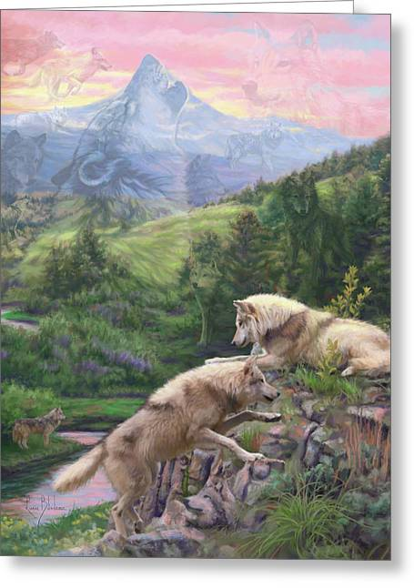 Hidden Wolves Greeting Card by Lucie Bilodeau