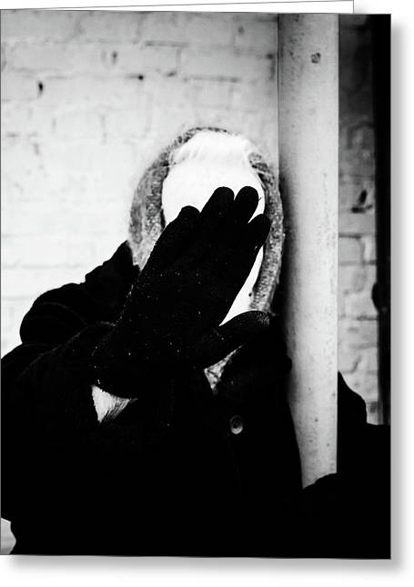 Greeting Card featuring the photograph Hidden Woman In Black Fur by John Williams
