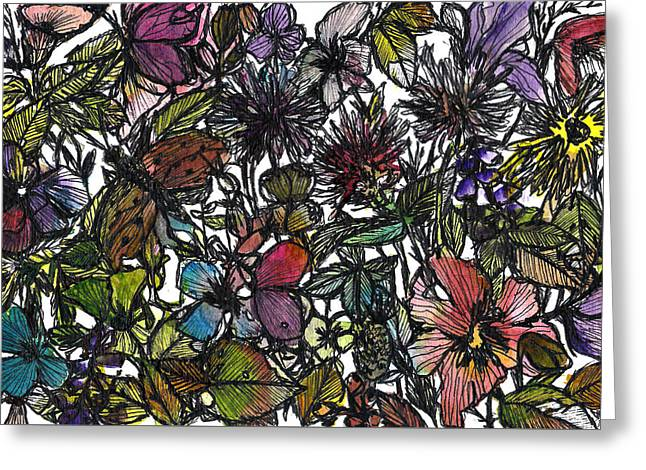 Hide And Seek In Wildflower Bushes Greeting Card by Garima Srivastava