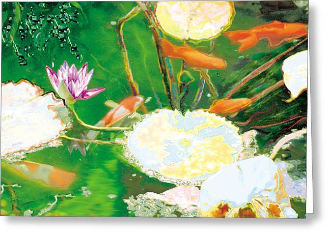Hide And Seek Kio In The Green Pond Greeting Card by Judy Loper
