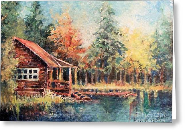Greeting Card featuring the painting Hide Out Cabin by Linda Shackelford