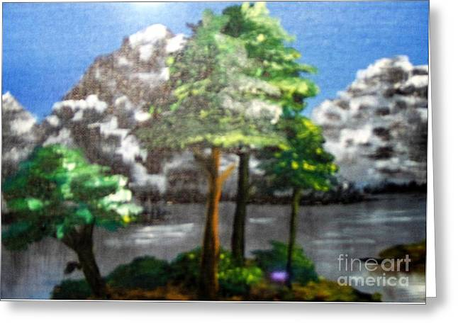 Greeting Card featuring the painting Hideaway by Saundra Johnson