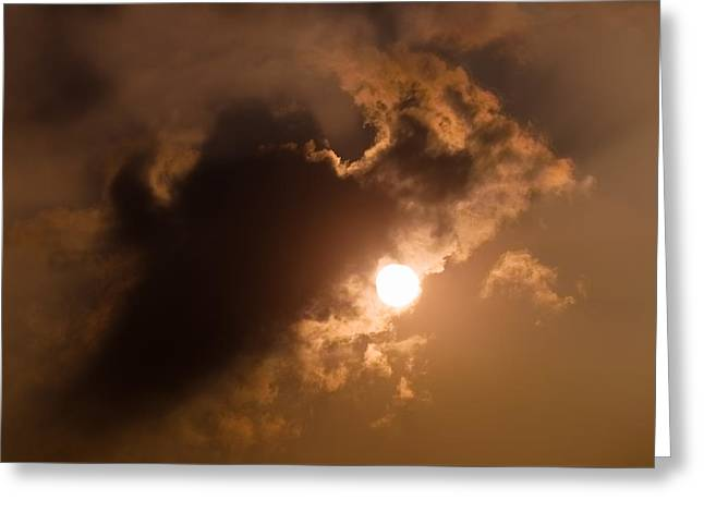 Hiding Behind The Clouds Greeting Card by Wim Lanclus