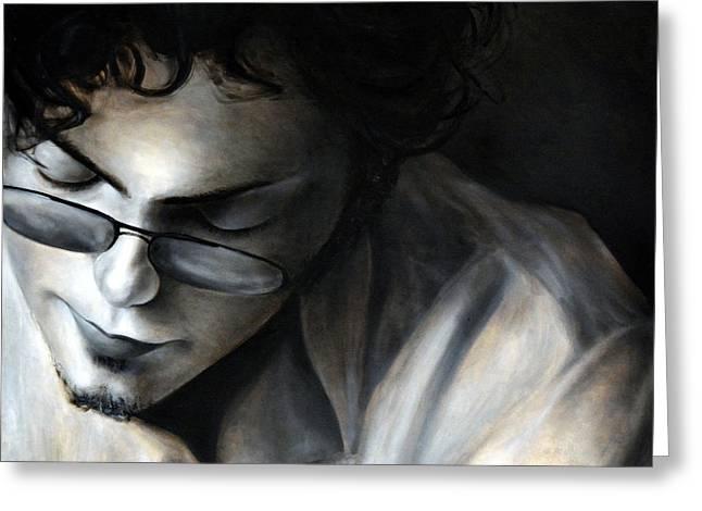 Hiding Eyes, 2010, 100-100cm, Oil On Canvas Greeting Card by Oana Unciuleanu
