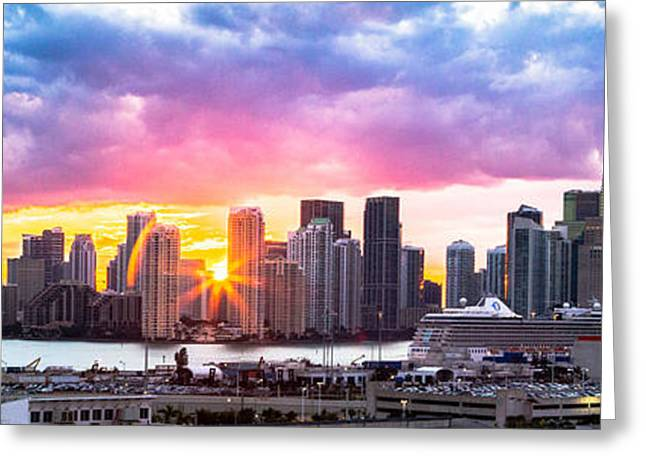 Hiding The Light Panoramic Miami Greeting Card by Rene Triay Photography